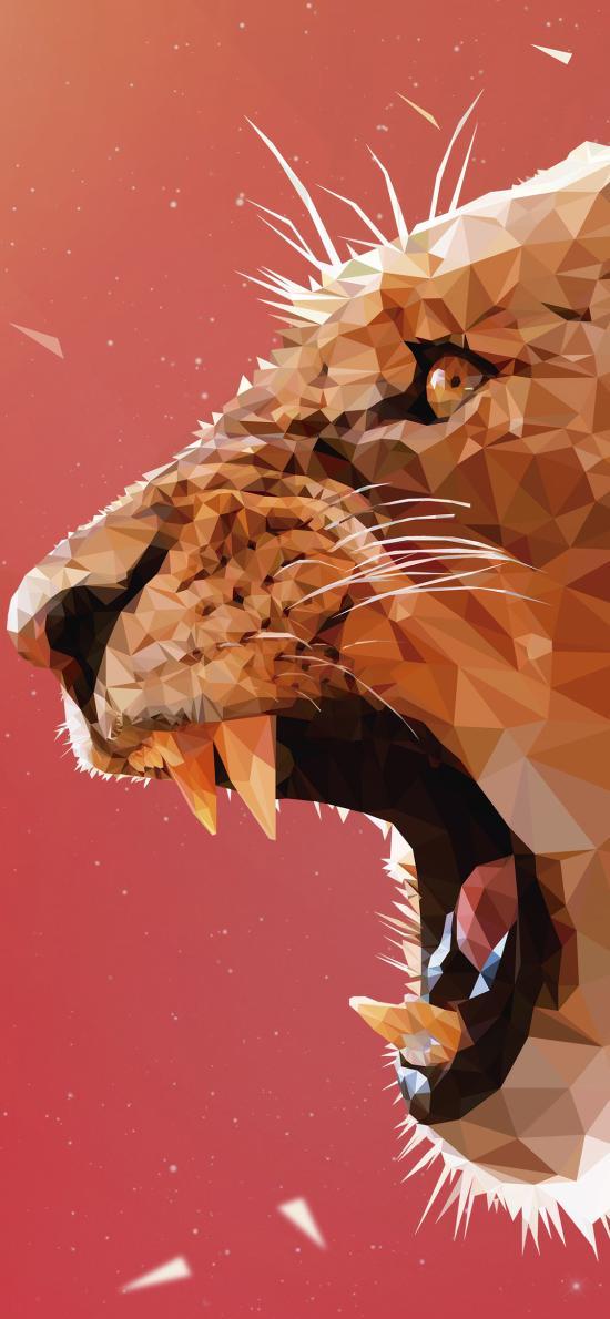 豹 动物 几何 设计 凶猛 猛兽 尖牙