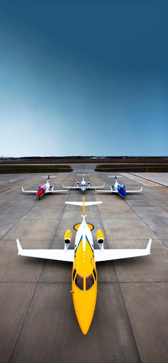 飞机 机场 航空 彩色 蓝天 翅膀
