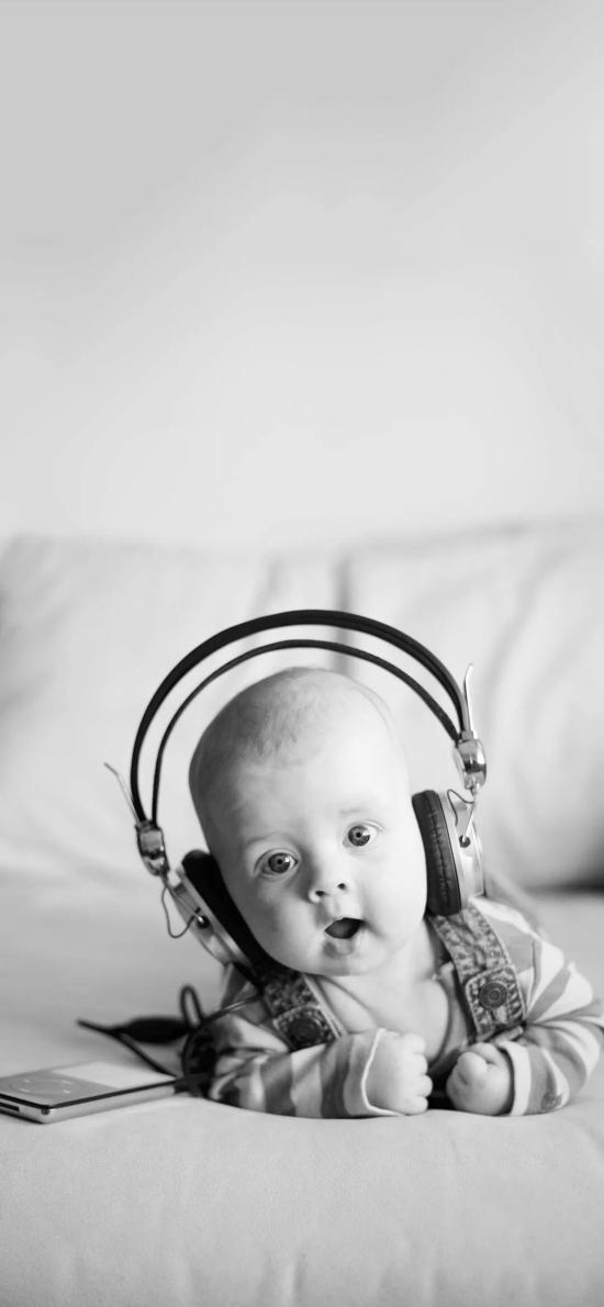 萌娃 黑白 欧美 可爱 大眼 耳机