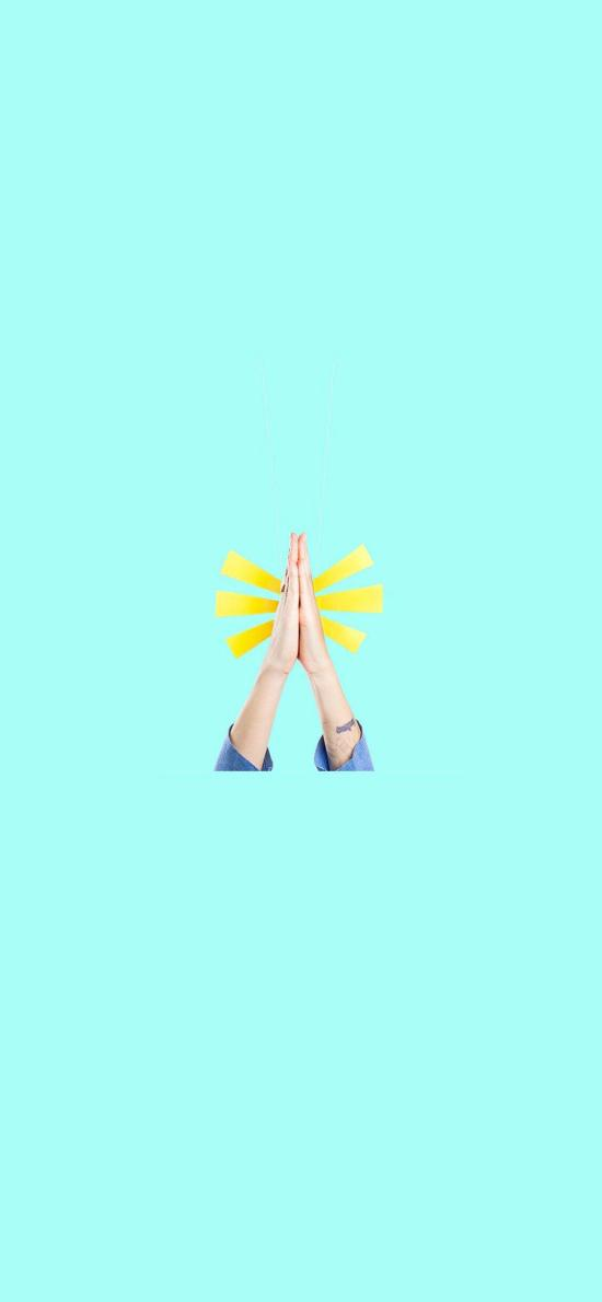 祈祷 许愿 蓝色 双手 创意