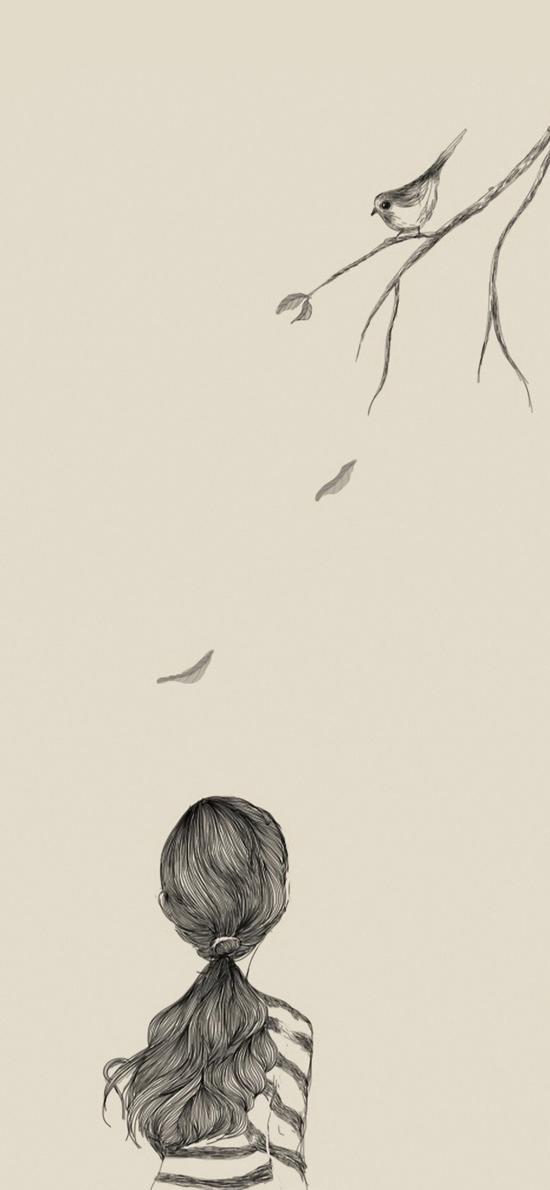 文艺范手绘女孩背影