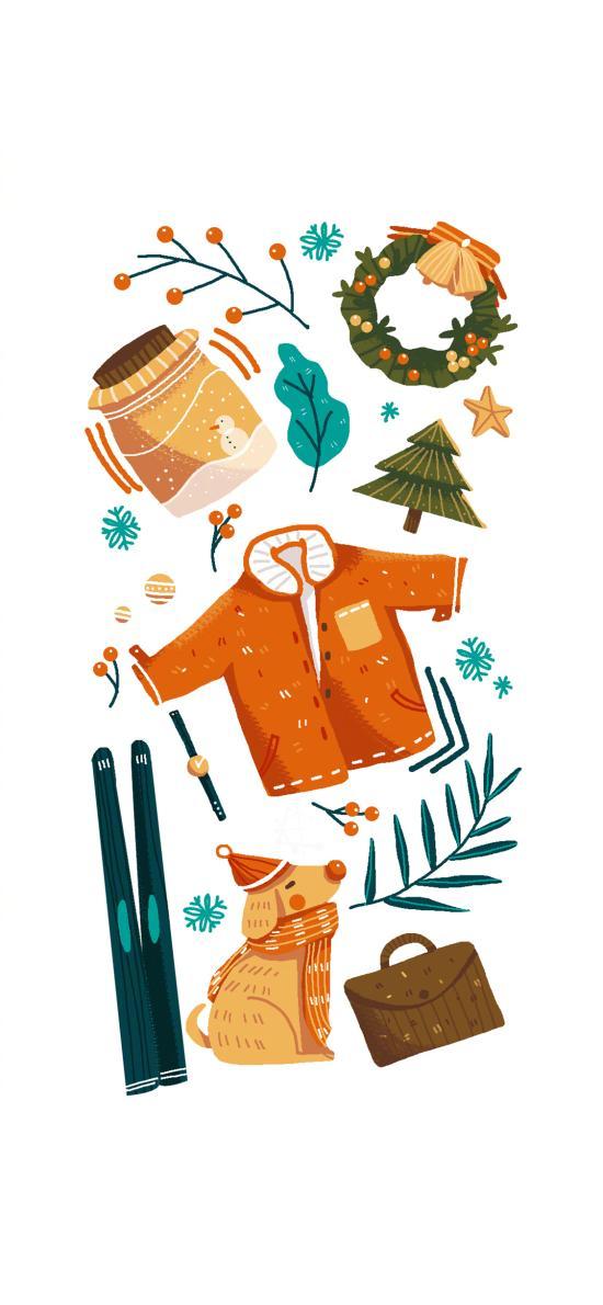 圣诞 物品 花环 冬季 雪人 平铺