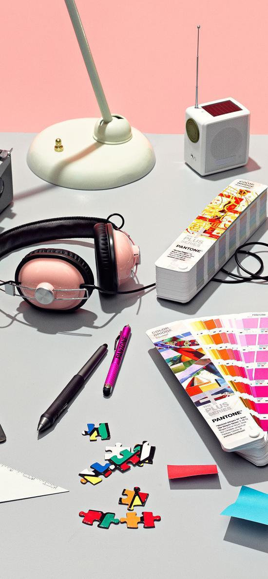 桌面 办公 色卡 打字机 文具