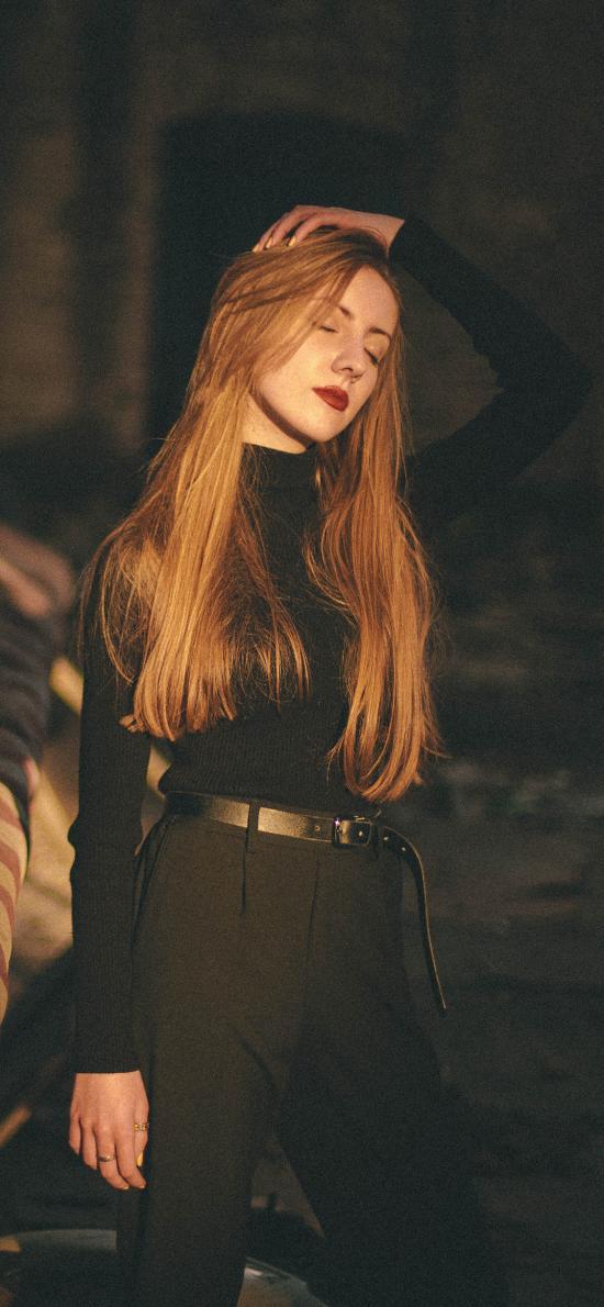 欧美 金发美女 长发 红唇