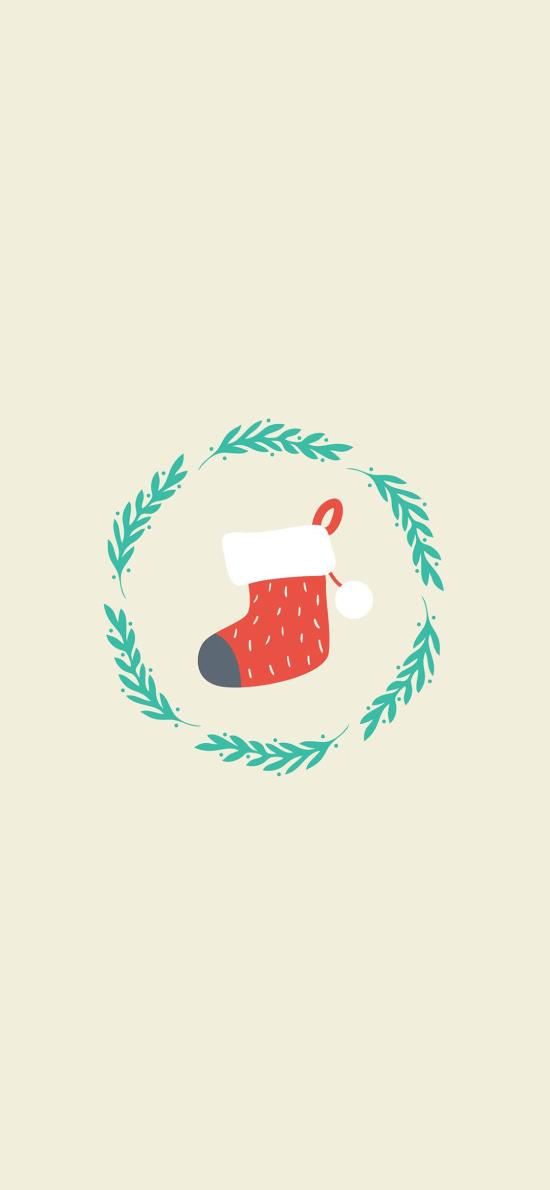 merry christmas 圣诞 叶子 袜子