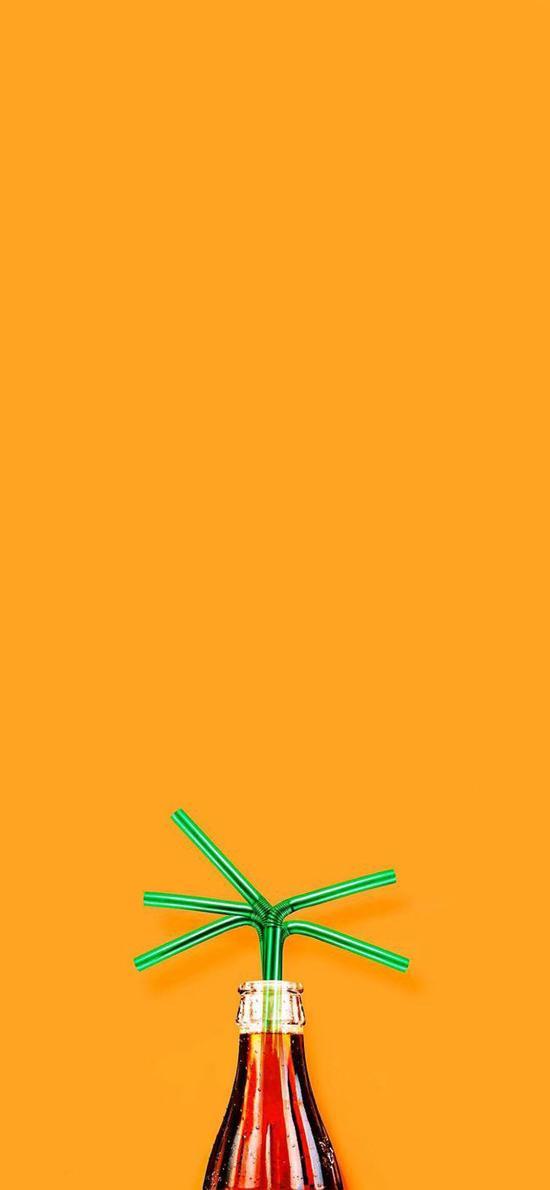 吸管 可乐 色彩 创意 橙