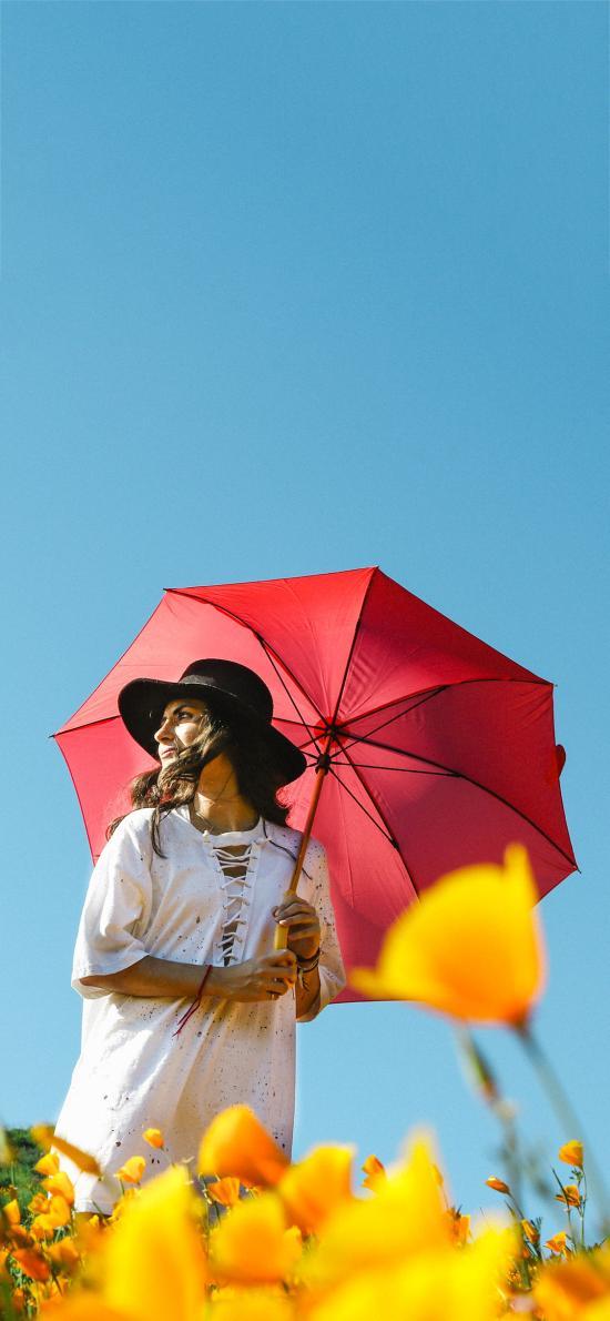 花田 欧美美女 写真 红伞