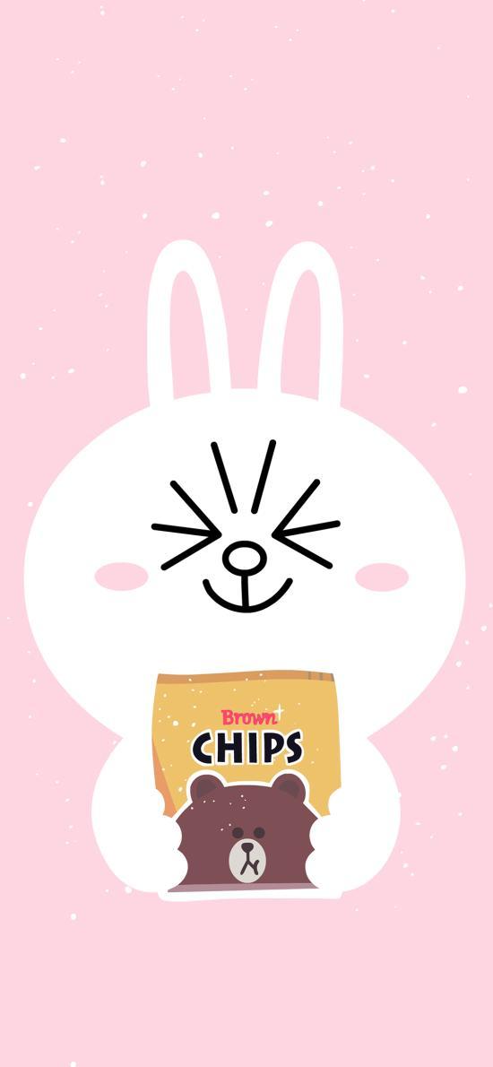 line 可妮兔 薯片 布朗熊 粉色