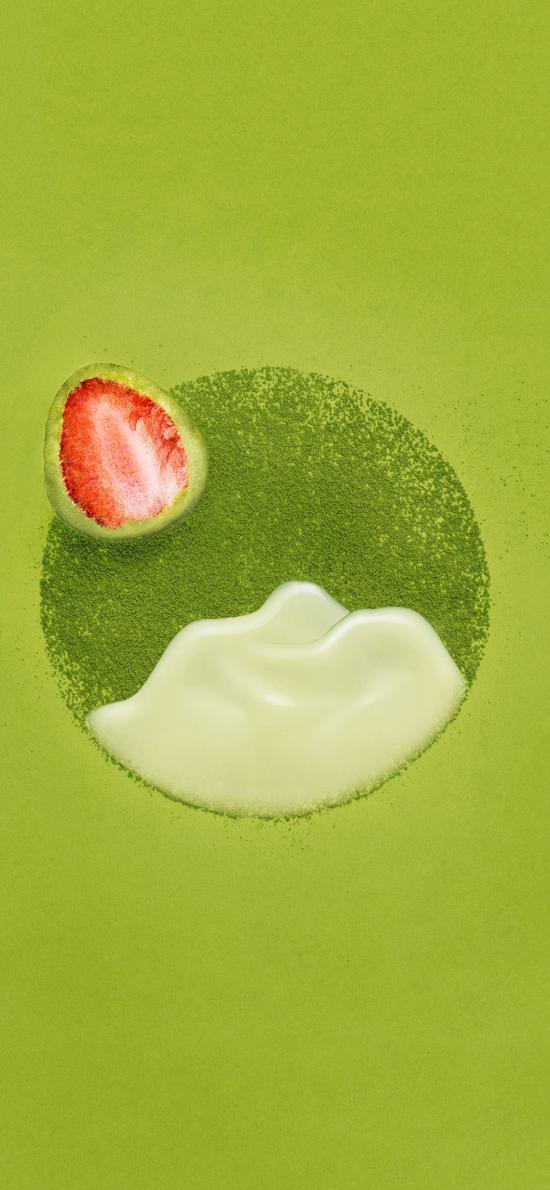 抹茶 草莓 摆拍 食物 甜品