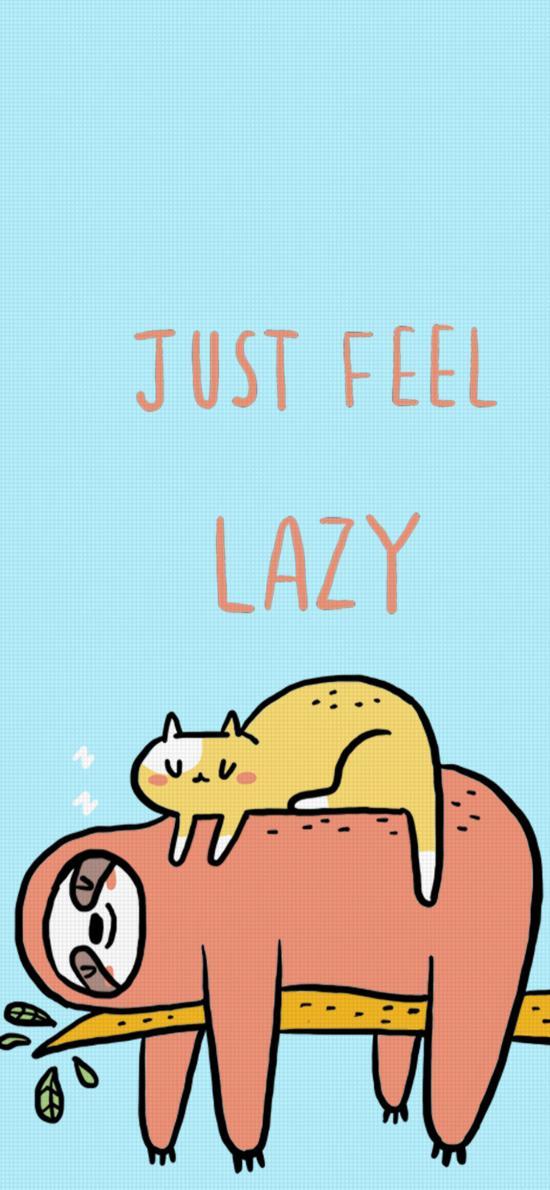 卡通 树懒 猫咪 just feel lazy