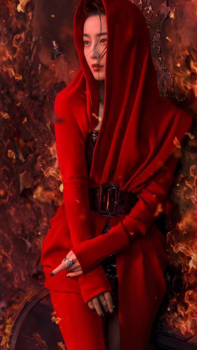 范冰冰 范爷 明星 女神 写真 红色