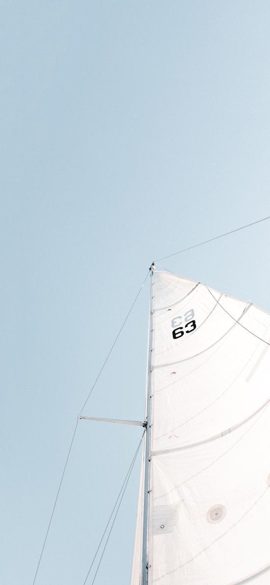 帆船 船帆 蓝白 小清新 天空 运动