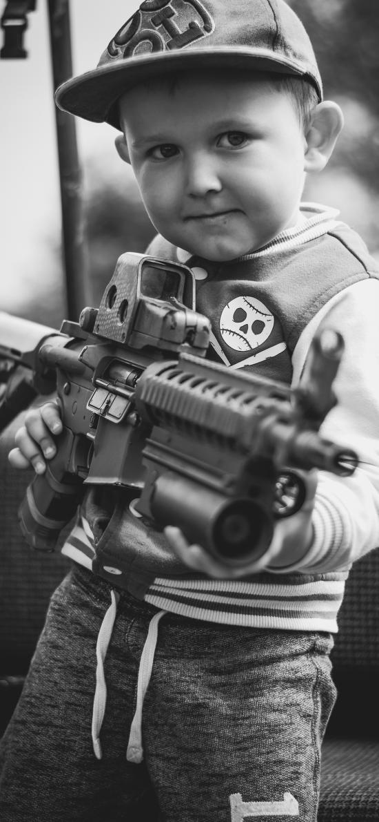 枪 黑白 射击 小男孩 欧美