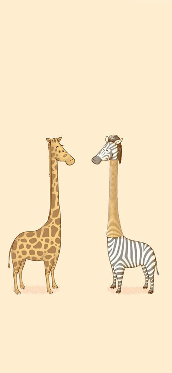长颈鹿 斑马 棕色