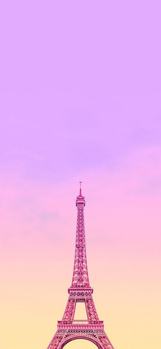 埃菲尔铁塔 法国 粉色 渐变 浪漫 唯美