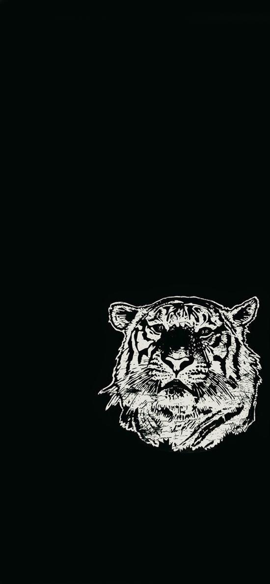 创意 黑白 狮子 头部