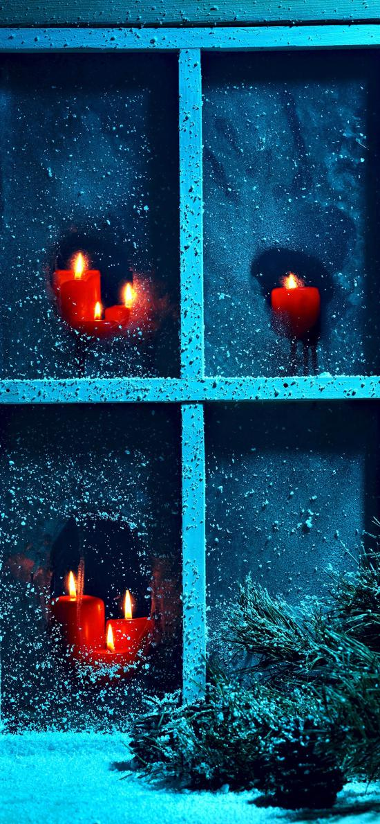 烛光 圣诞 雪 窗户 蜡烛