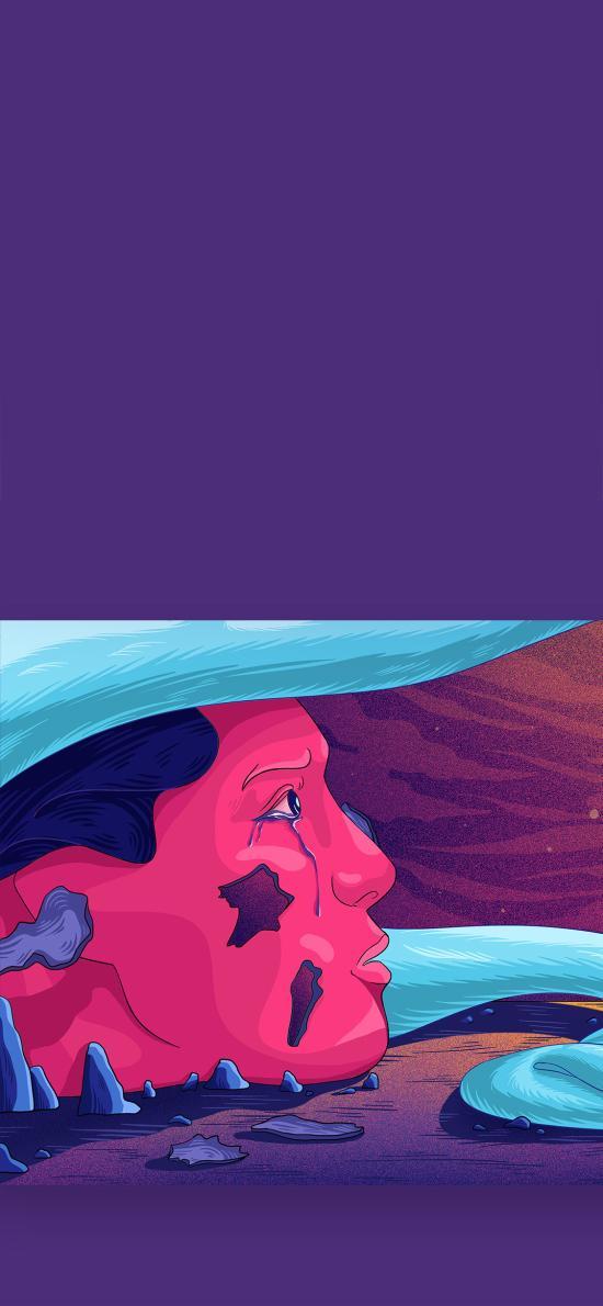 手绘插画 紫色系 抽象人物 流泪