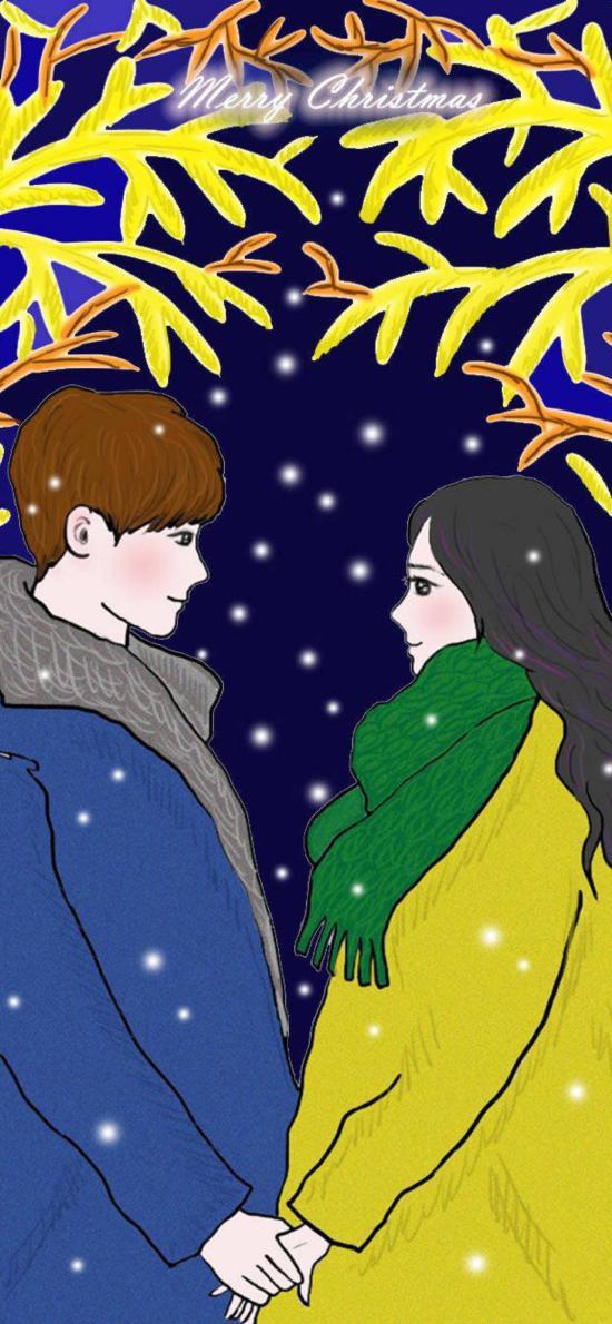 圣诞情侣 牵手 对视 插画