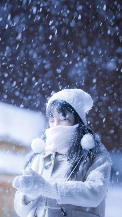 雪中女孩 毛线帽 下雪 雪花