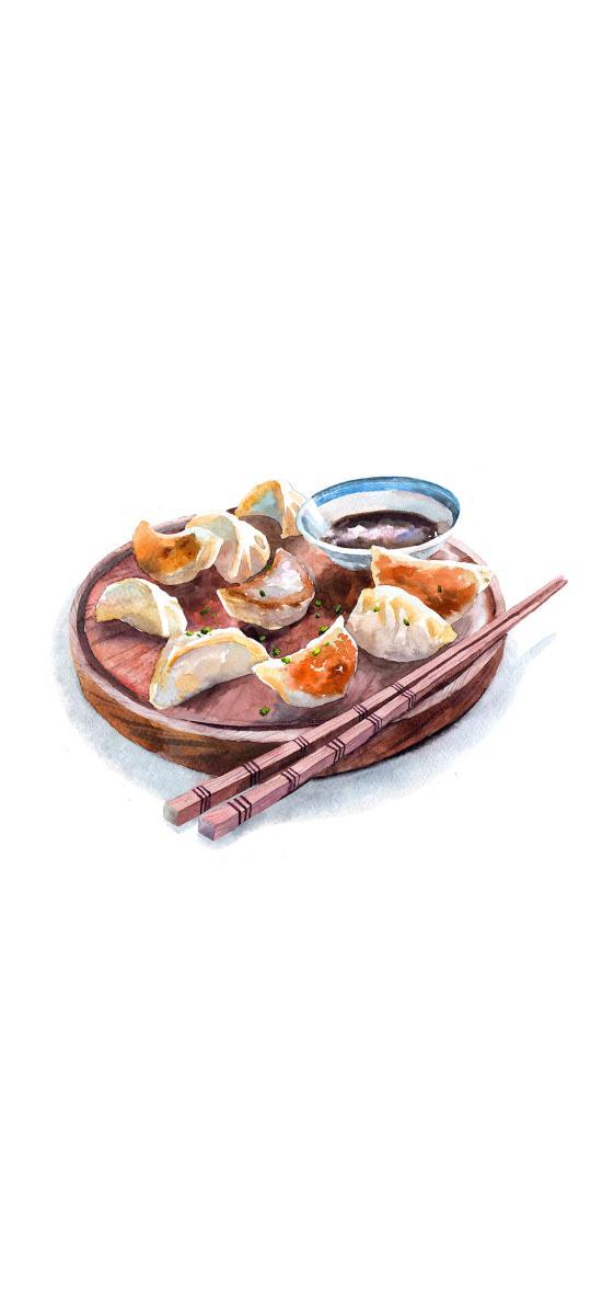 手绘美食 饺子 筷子 酱料