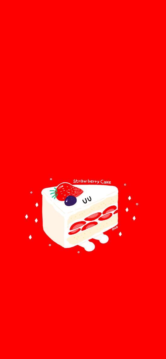 草莓蛋糕 红色 甜品 水果 卡通