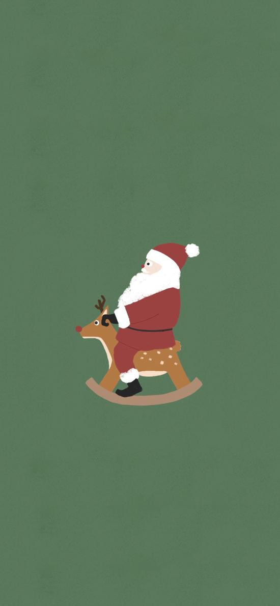 圣诞老人 绿色 木马 可爱