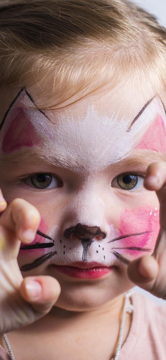 小女孩 花猫脸 搞怪 可爱 猫爪
