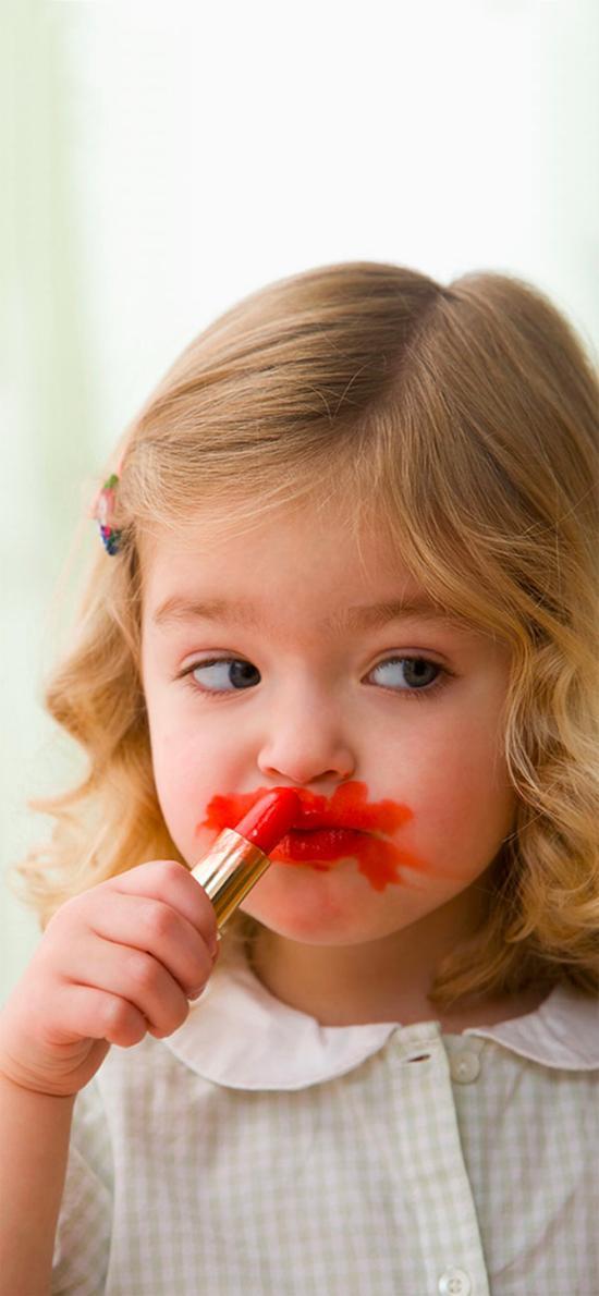欧美萌娃 金发小女孩 口红