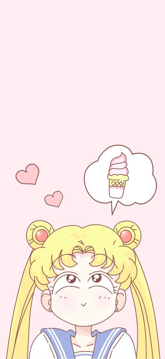 美少女战士 粉色 动画 冰淇淋 爱心