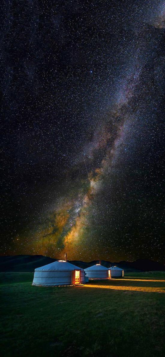星空 蒙古包  草原 夜晚