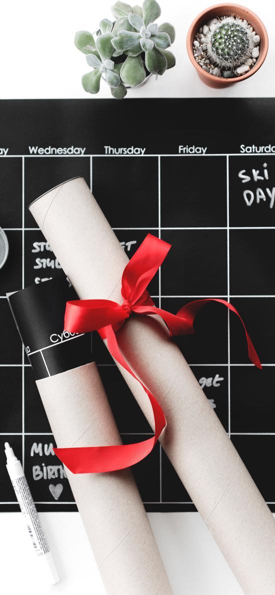 静物 黑色格子 纸筒 蝴蝶结