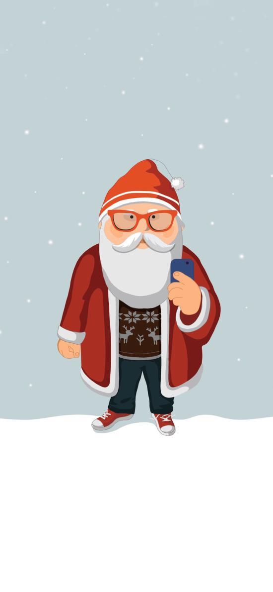 圣诞节 圣诞老人 卡通 手机