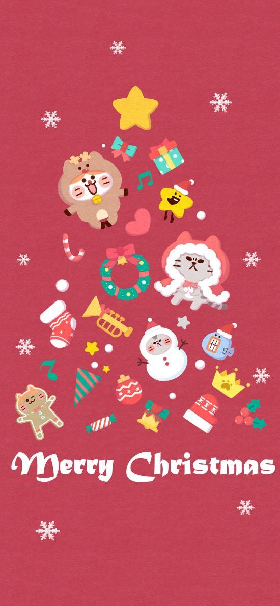 圣诞树 红色 卡通 可爱 圣诞快乐