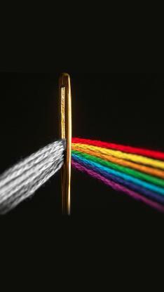 绣花针 毛线 穿针 彩虹色