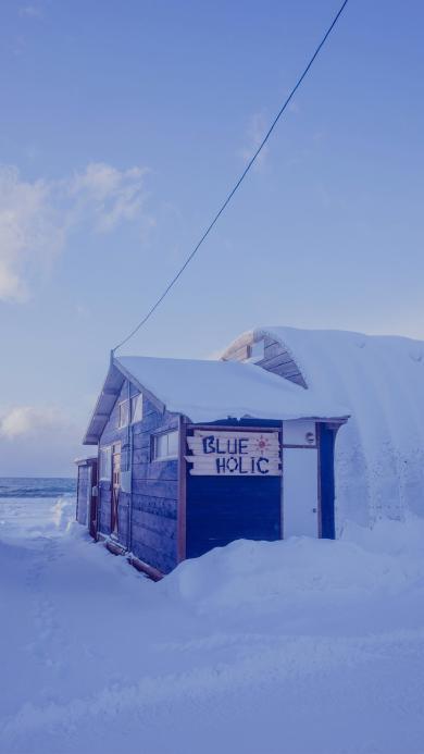 雪景 冬季 雪地 房屋