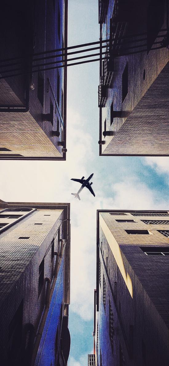 飞机 建筑 高楼大厦 天空 仰视