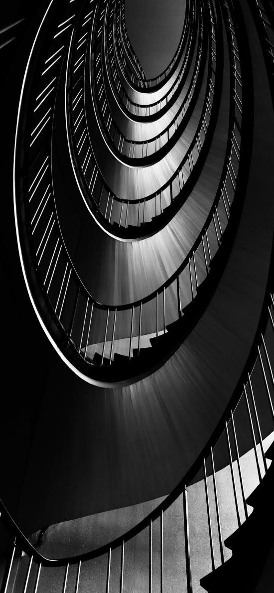 楼梯 建筑 黑白 圆形 旋转