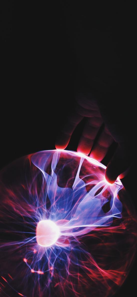 发光球 手 触摸 科技