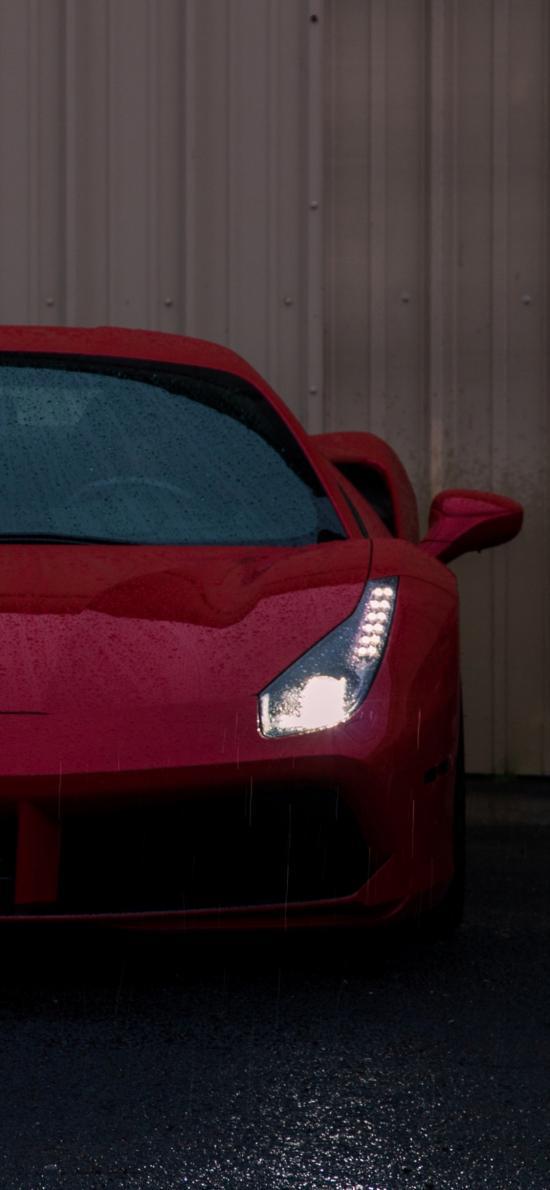 法拉利 红色 车头 超级跑车