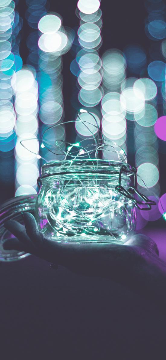 玻璃瓶 灯光 发光 罐子 夜晚