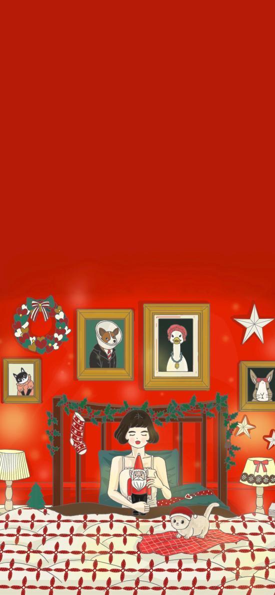 圣诞 女孩 红色 被窝 卧室