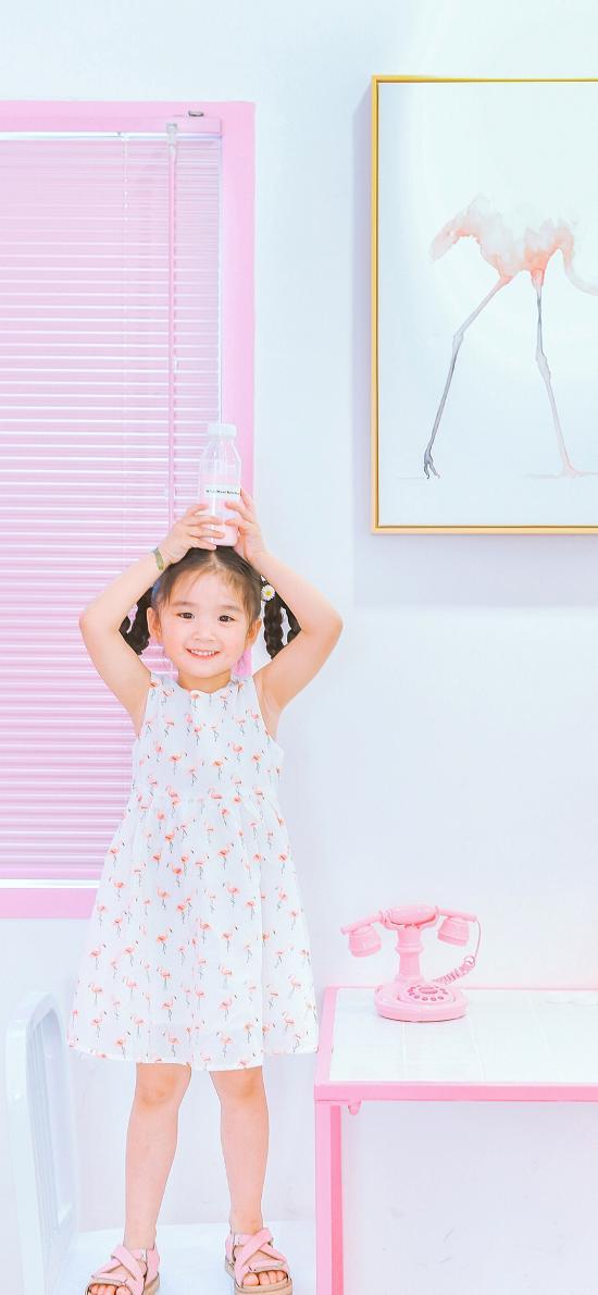 小女孩 可爱 粉色 儿童 孩子