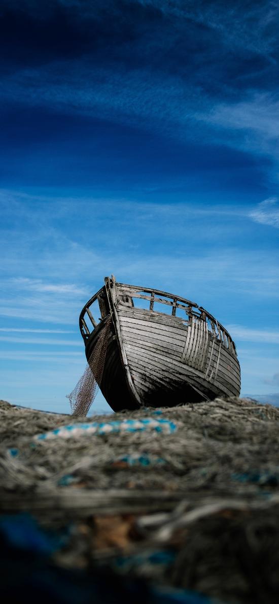 船 蓝色 天空 停泊 木