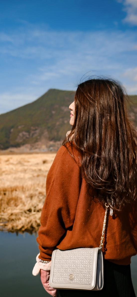 女孩 背影 户外 风景