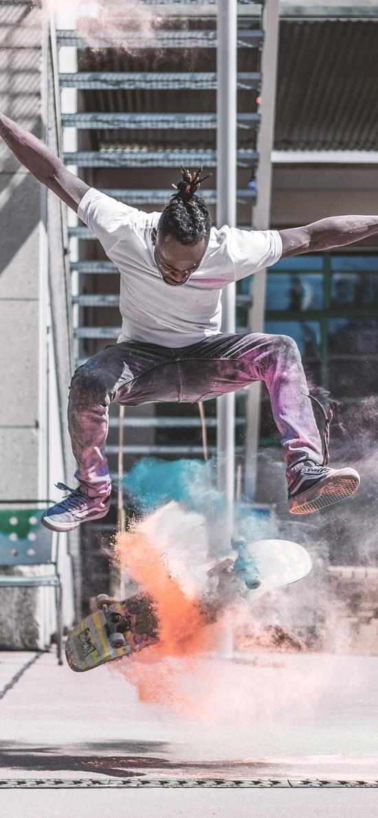 滑板 黑人 炫酷 粉末