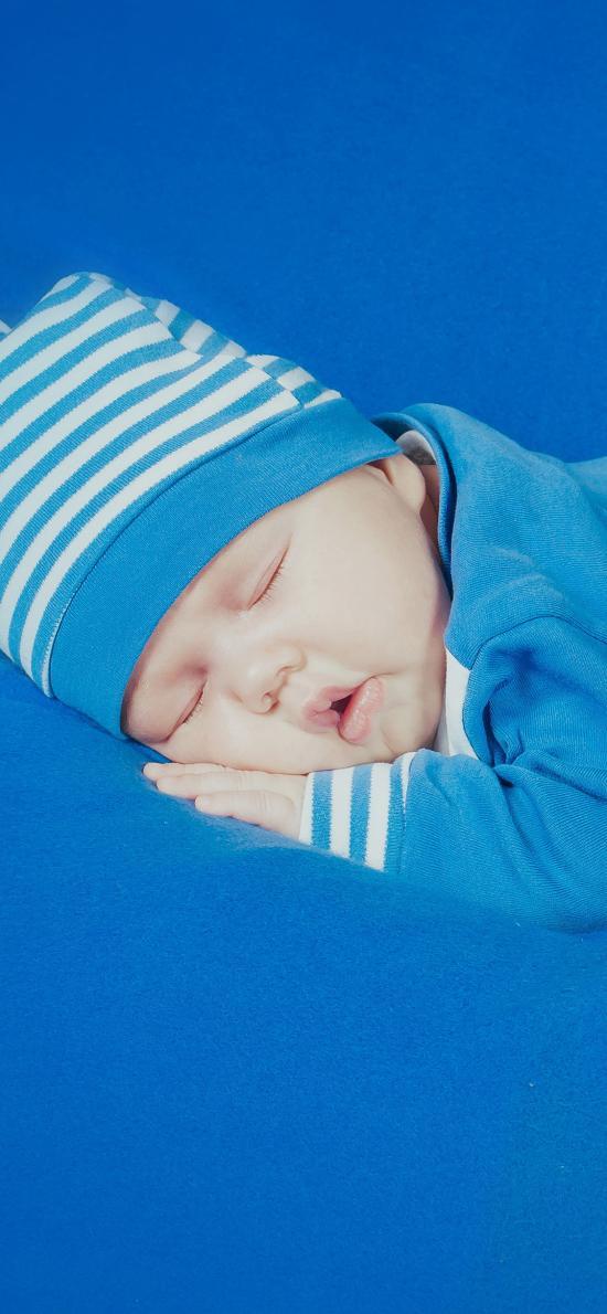 婴儿 蓝色 宝宝 可爱 睡梦