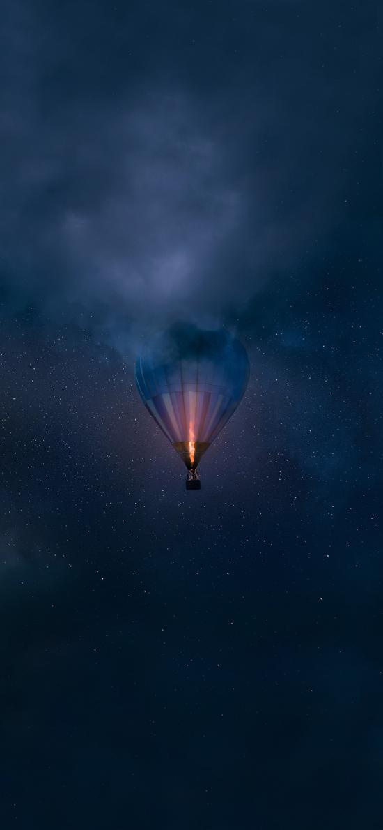 热气球 天空 唯美 蓝色 发光 星空