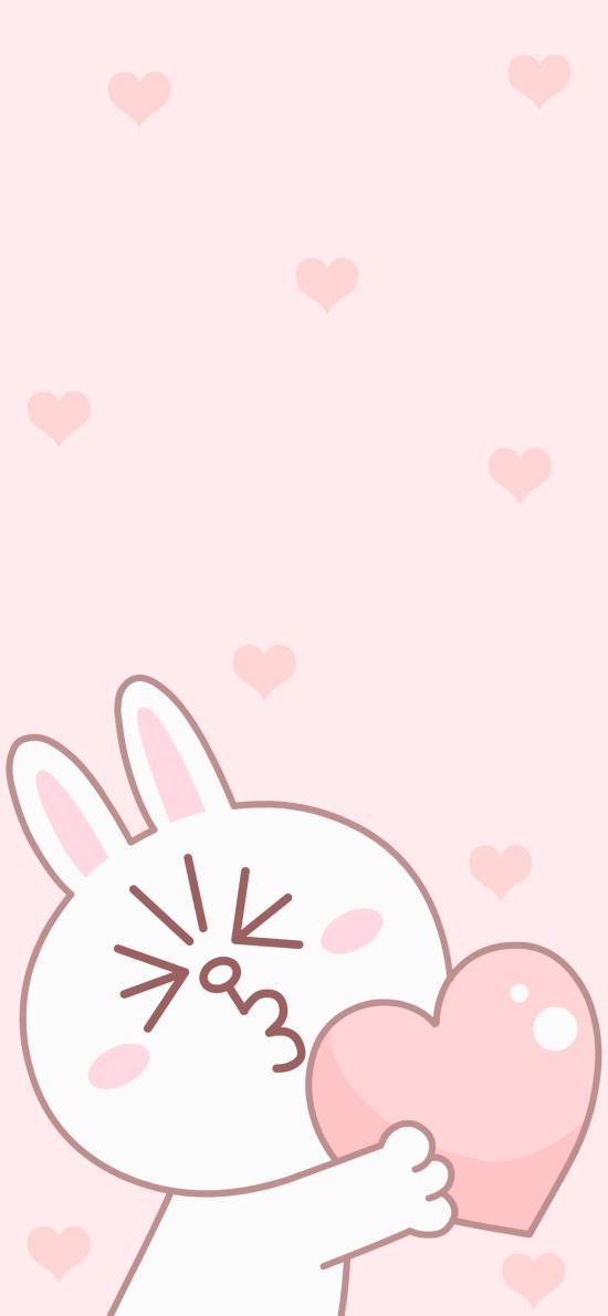 可妮兔 爱心 line friends 粉色