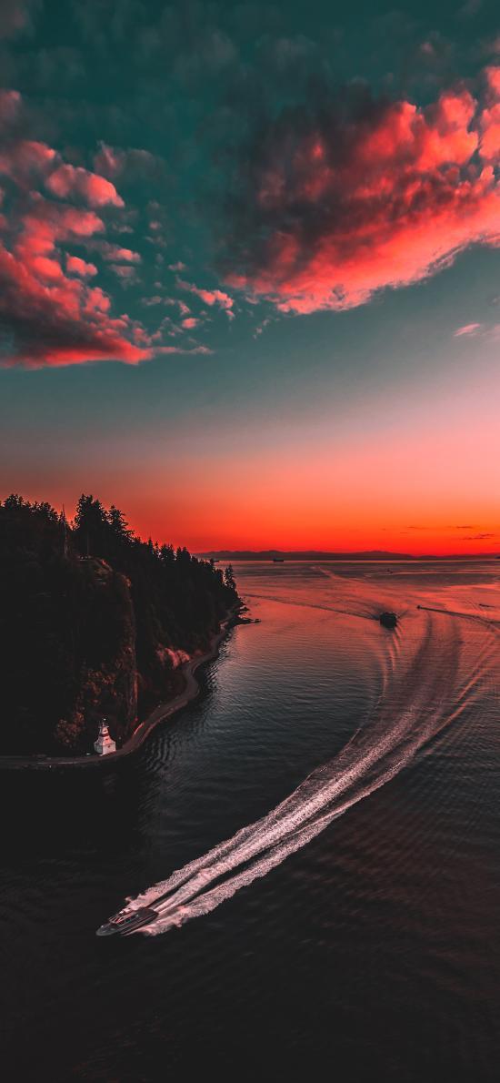 日落 火烧云 河面 风景